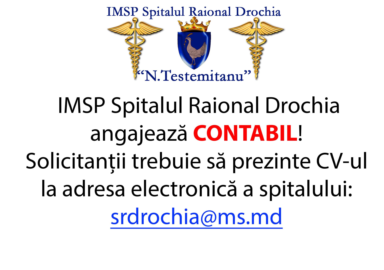 Urgent! Spitalul Raional Drochia angajează contabil!